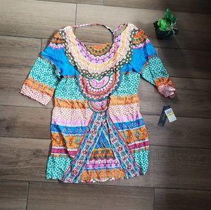 Laundry shelli Segal geo print boho mini dress swi